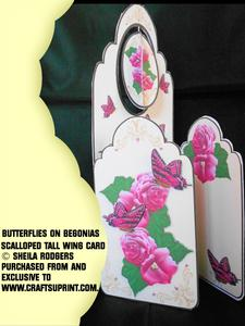 Scalloped Tall Wing Card - Butterflies on Begonias