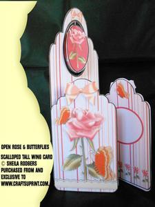 Scalloped Tall Wing Card - Open Rose & Butterflies