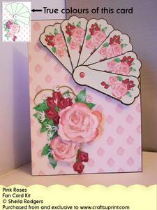 Fan Card - Pink Roses