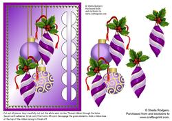 Woven Ribbon Card - Purple Baubles