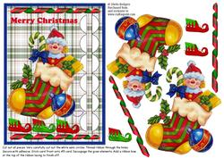 Woven Ribbon Card - Toys in Stocking