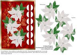 Woven Ribbon Card - White Poinsettias