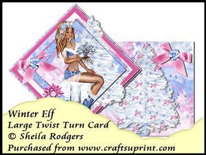 Large Twist Turn Card - Winter Elf