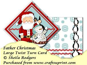 Large Twist Turn Card - Father Christmas