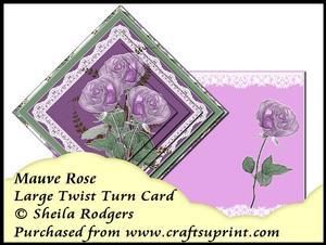 Large Twist Turn Card - Mauve Rose