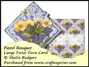 Large Twist Turn Card - Pastel Bouquet