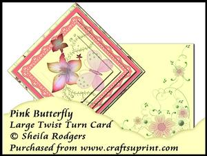 Large Twist Turn Card - Pink Butterfly