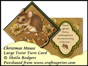 Large Twist Turn Card - Christmas Mouse