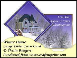 Large Twist Turn Card - Winter House