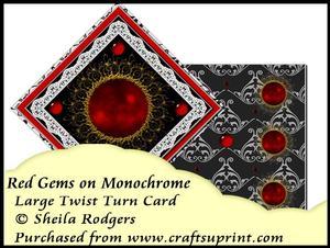 Large Twist Turn Card - Red Gems on Monochrome