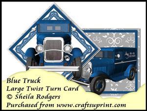 Large Twist Turn Card - Blue Truck