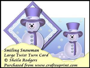 Large Twist Turn Card - Smiling Snowman