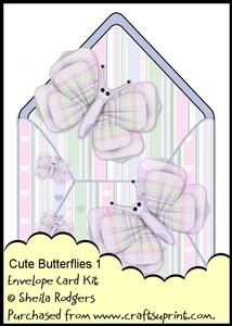 Envelope Card Kit - Cute Butterflies 1