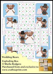 Exploding Box - Wedding Bears