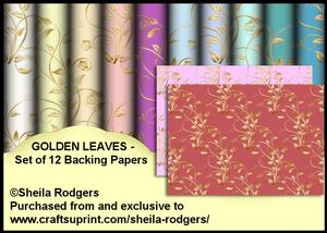 Golden Leaves - Set of 12 Backing Papers