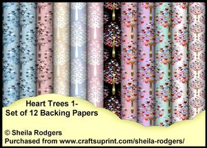 Heart Trees 1 - Set of 12 Backing Papers