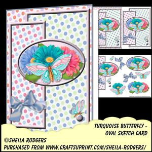 Oval Sketch Card - Turquoise Butterfly