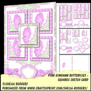 Squares Sketch Card - Pink Gingham Butterflies