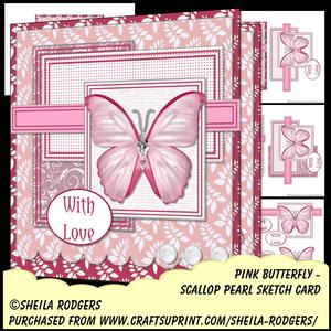 Scallop Pearl Sketch Card - Pink Butterfly