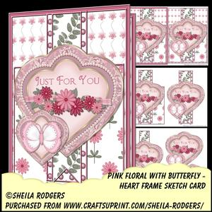 Heart Frame Sketch - Pink Floral with Butterfly