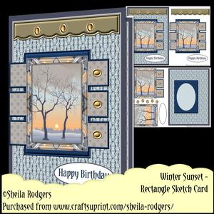 Rectangle Sketch Card - Winter Sunset