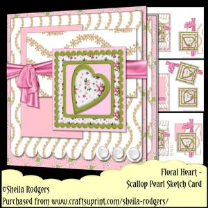 Scallop Pearl Sketch Card - Floral Heart