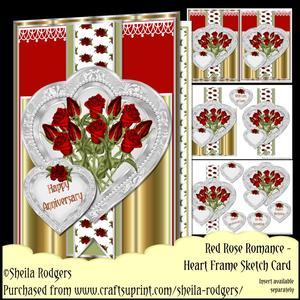 Heart Frame Sketch - Red Rose Romance