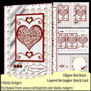 Layered Rectangles Sketch - Filigree Red Heart