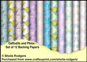 Daffodils and Phlox - Set of 12 Backing Papers