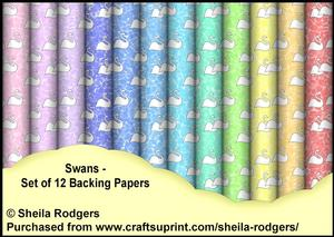 Swans - Set of 12 Backing Papers