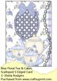 Blue Floral Tea and Cakes Scalloped S Edged Card