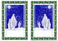 Three Wise Men in Holly Frames Digital Stamps