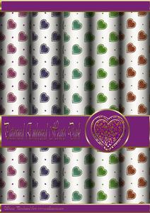 Floral Embossed Hearts Dark