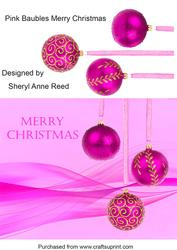 Pink Baubles Merry Christmas