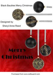 Black Baubles Merry Christmas