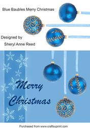 Blue Baubles Merry Christmas