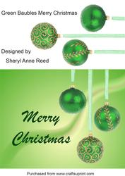 Green Baubles Merry Christmas