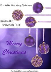 Purple Baubles Merry Christmas