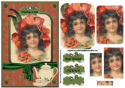 Poppy Flower and Vintage Girl Having Tea Pyramid