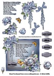 Blue Roses with Verse Topper