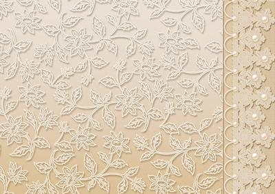 Cream Floral Lace With And Pearls Border CUP167310
