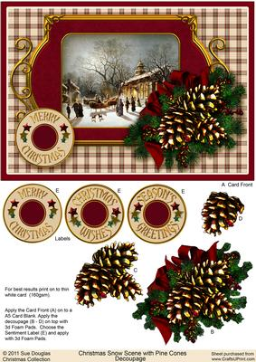 Christmas Snow Scene with Pine Cones Decoupage
