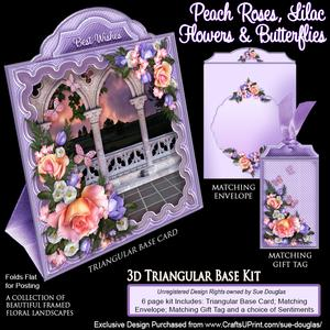 Triangular Base Kit Peach Roses, Lilac Flowers & Butterflies
