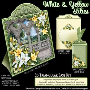 Triangular Base Kit White and Yellow Lilies