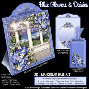 Triangular Base Kit Blue Flowers and Daisies