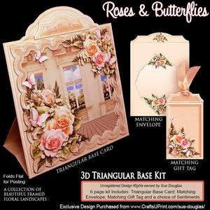 Triangular Base Kit Roses and Butterflies