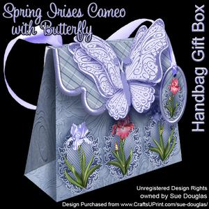 Handbag Gift Box Spring Irises Cameo with Butterfly