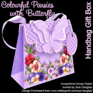 Handbag Gift Box Colourful Pansies with Butterfly