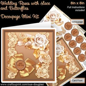 Wedding Roses with Lace and Butterflies 8x8 Decoupage Mini K
