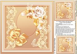 Wedding Roses with Lace and Butterflies Matching 8x8 Insert